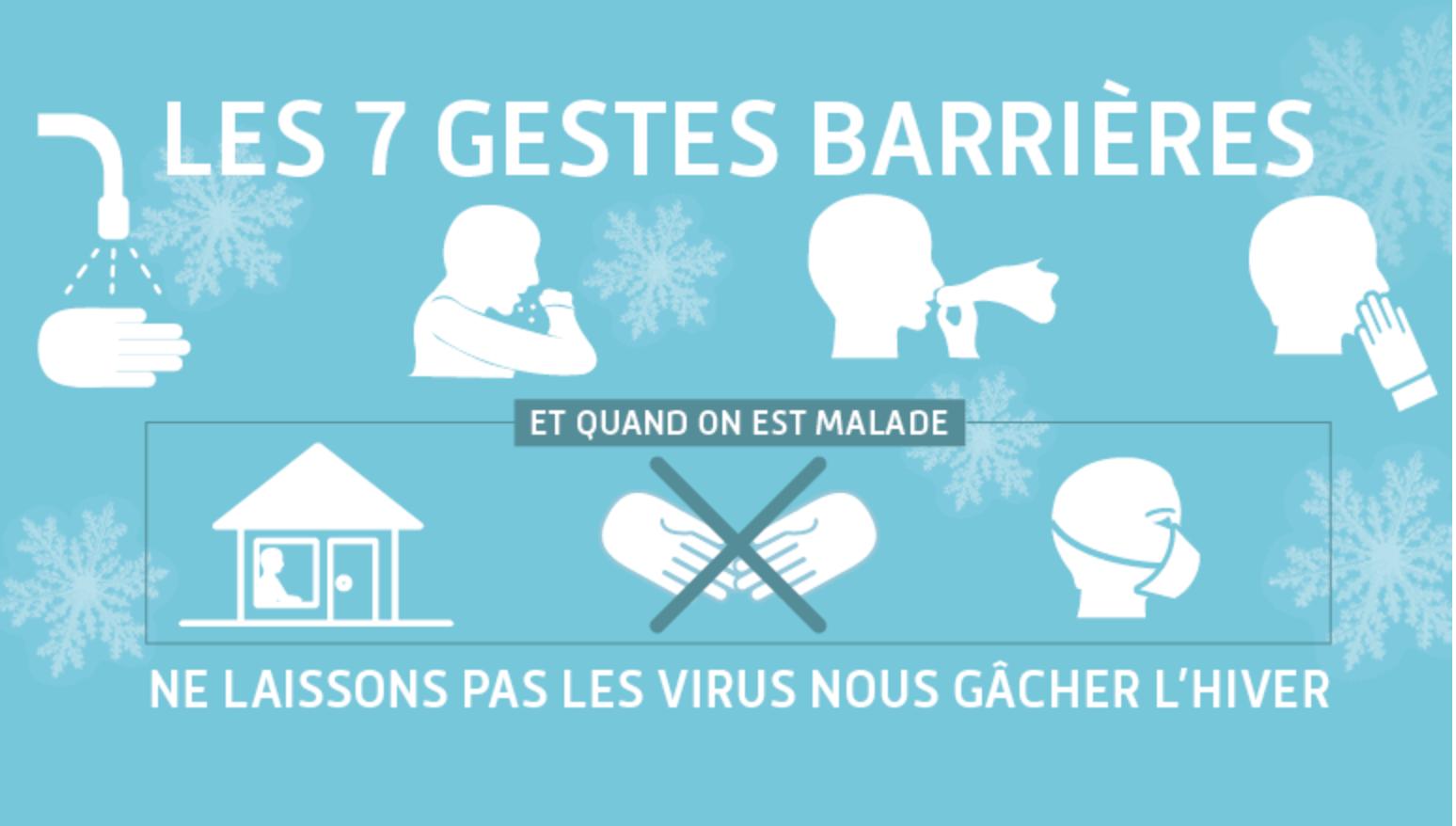 Les gestes et mesures barrière contre la grippe saisonnière (Ministère des solidarités et de la santé)