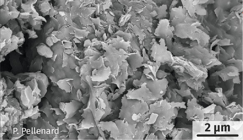 Un dépôt de sédiments argileux observé au microscope électronique à balayage