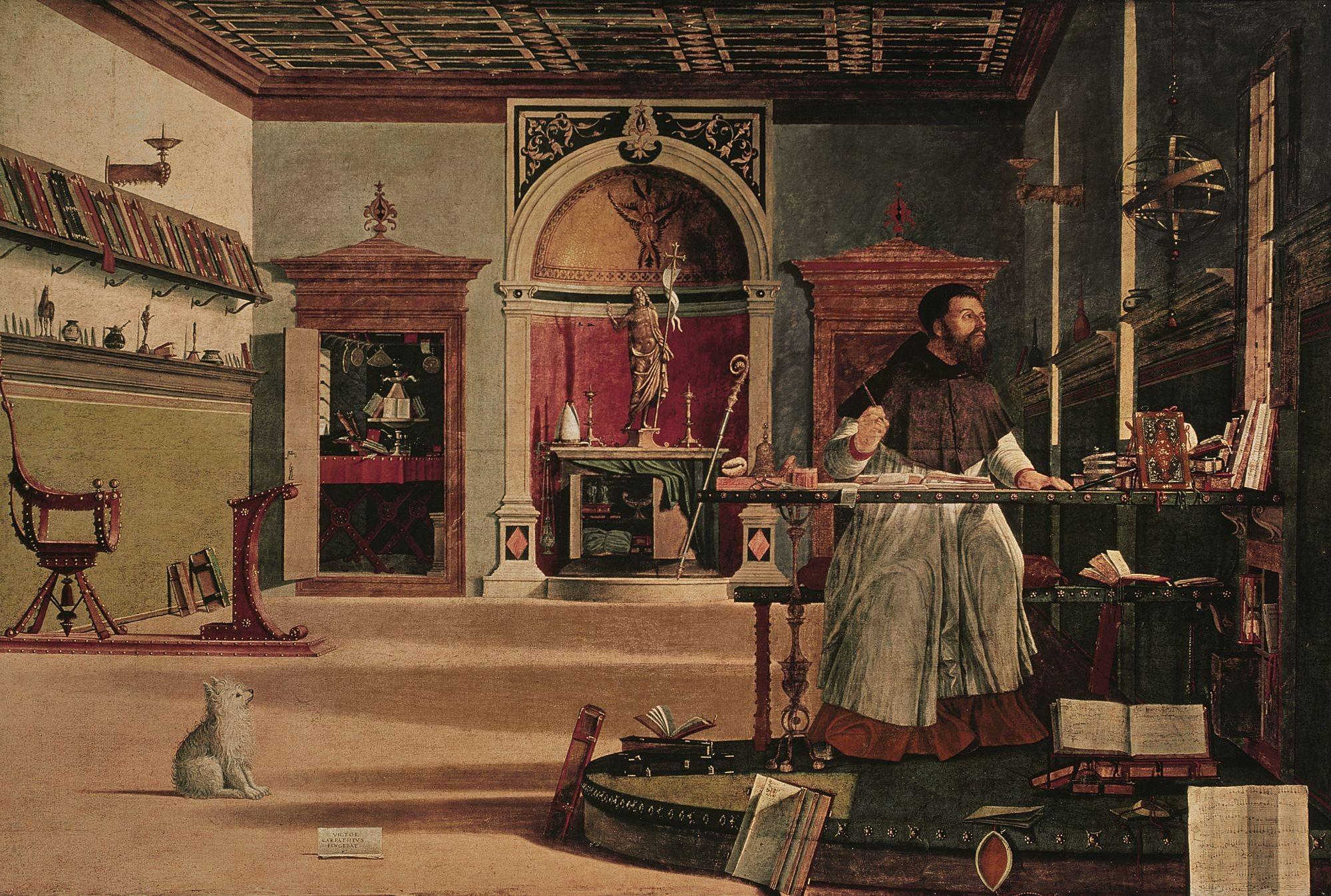 Vittore Carpaccio, La Vision de saint Augustin, 1502, huile sur toile, 144 × 202 cm, Scuola di San Giorgio degli Schiavoni, Venise.
