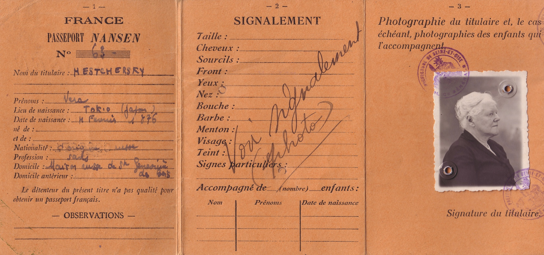 Passeport Nansen de la princesse Vera Mestchersky