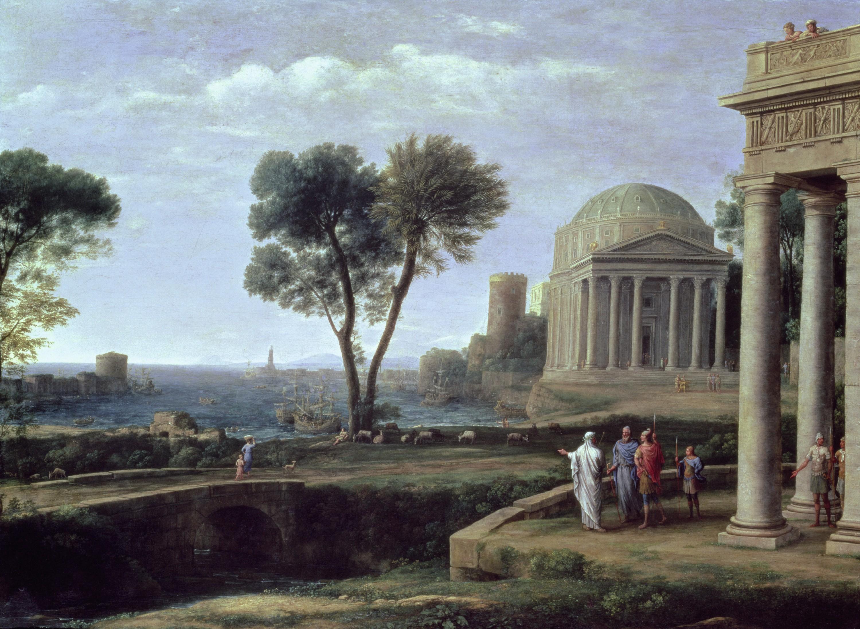 Claude Gellée dit Le Lorrain, Enée à Délos, 1672, huile sur toile, 100 × 134 cm, Gemäldegalerie, Dresde, Allemagne.