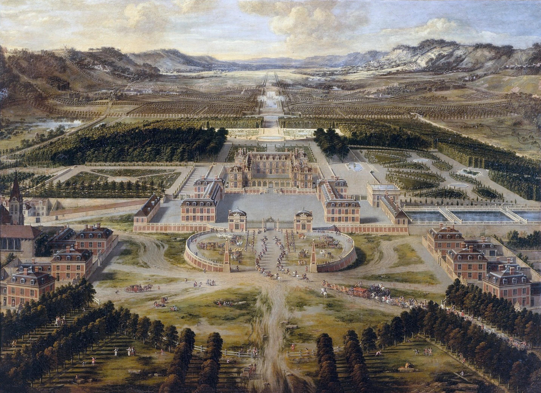Architecture classique Pierre Patel, Vue aérienne de Versailles, 1668, huile sur toile, 115 × 161 cm, musée national du château de Versailles.