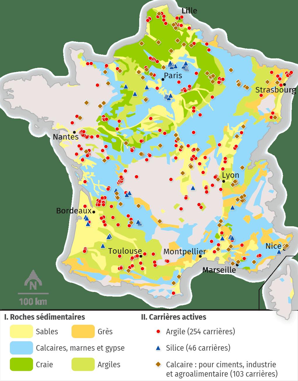 Carte des carrières en activité de calcaire, de sable et d'argile de France en 2015.