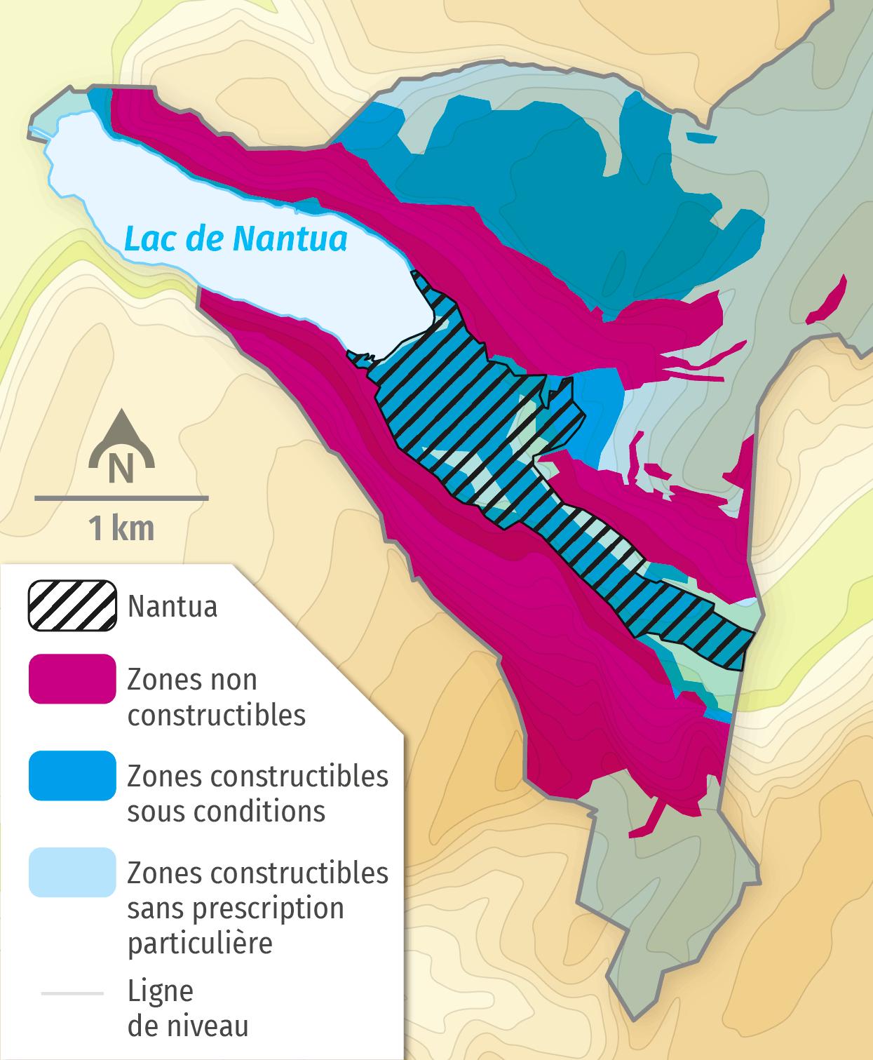 Carte du plan de prévention des risques naturels de Nantua.