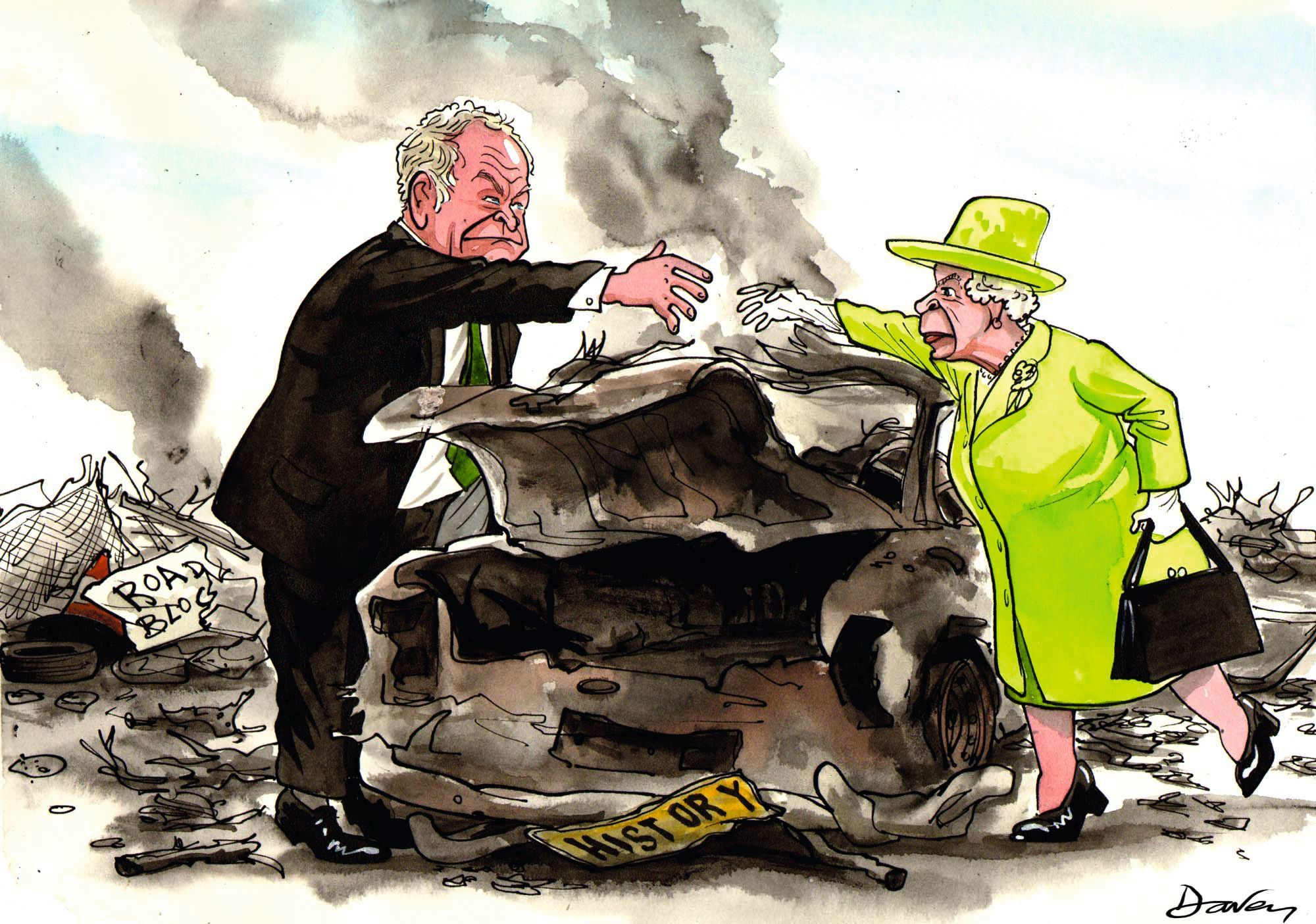 The Queen and Martin McGuinness shaking hands in 2012, Andy Daven, 2012.