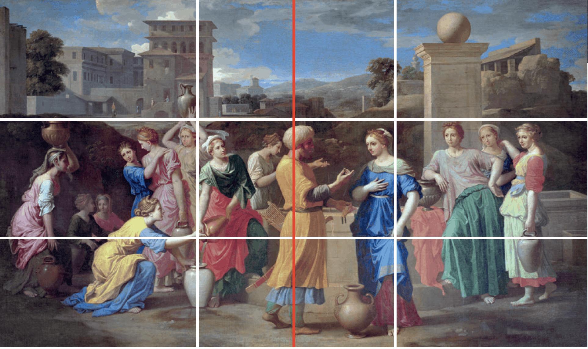 Nicolas Poussin, Éliézer et Rebecca, version lignes