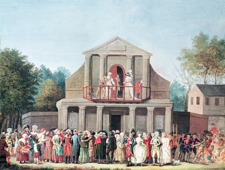 Anonyme, Théâtre à la foire Saint-Laurent, 1786, aquarelle, musée Carnavalet, Paris.