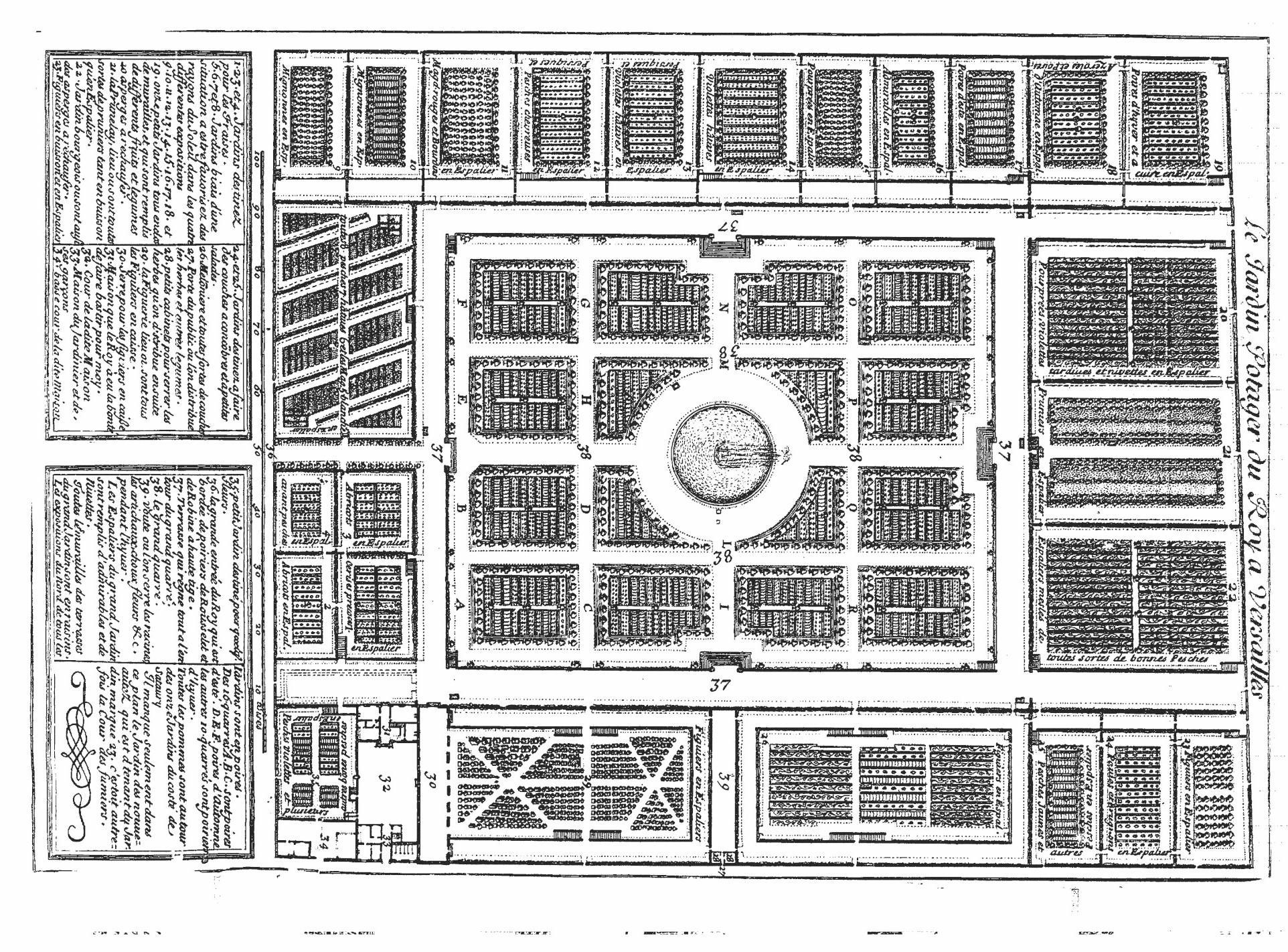 Jean-Baptiste de la Quintinie, jardin potager du roi à Versailles, plan daté de 1685