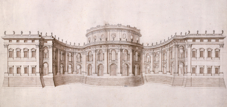 Le Bernin, projet pour l'élévation de la façade orientale du Louvre, 1664,