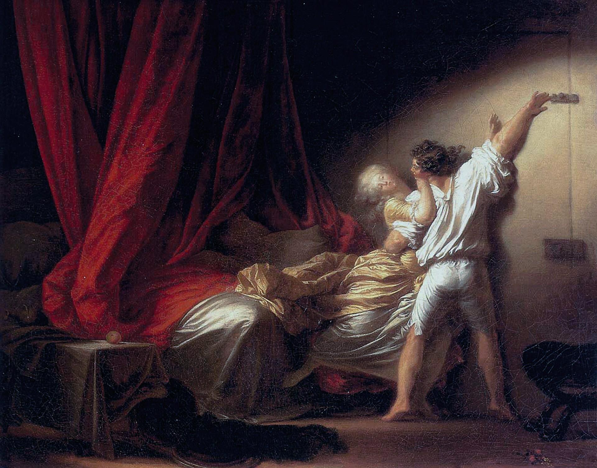 Jean‑Honoré Fragonard, Le Verrou, 1774 - 1778, huile sur toile, 73 × 93 cm, musée du Louvre, Paris.