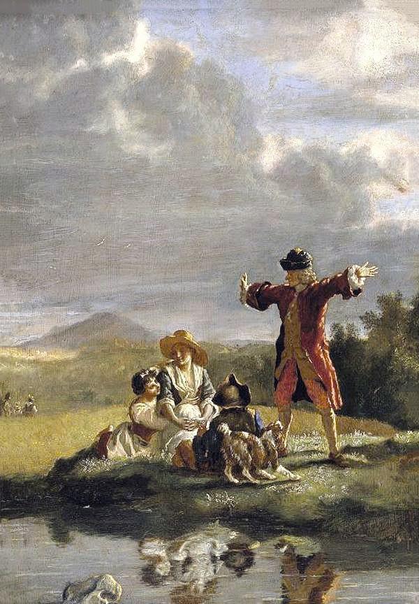 Jean Huber, Voltaire racontant une fable, 2nde moitié du XVIIIe siècle, huile sur toile, 33 × 23 cm, coll. privée.