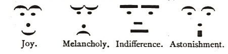 Les premiers émoticônes inventés par  les typographes du XIXe siècle.