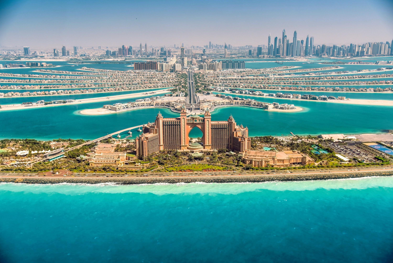 L'hôtel Atlantis sur l'île artificielle de Palm Jumeirah