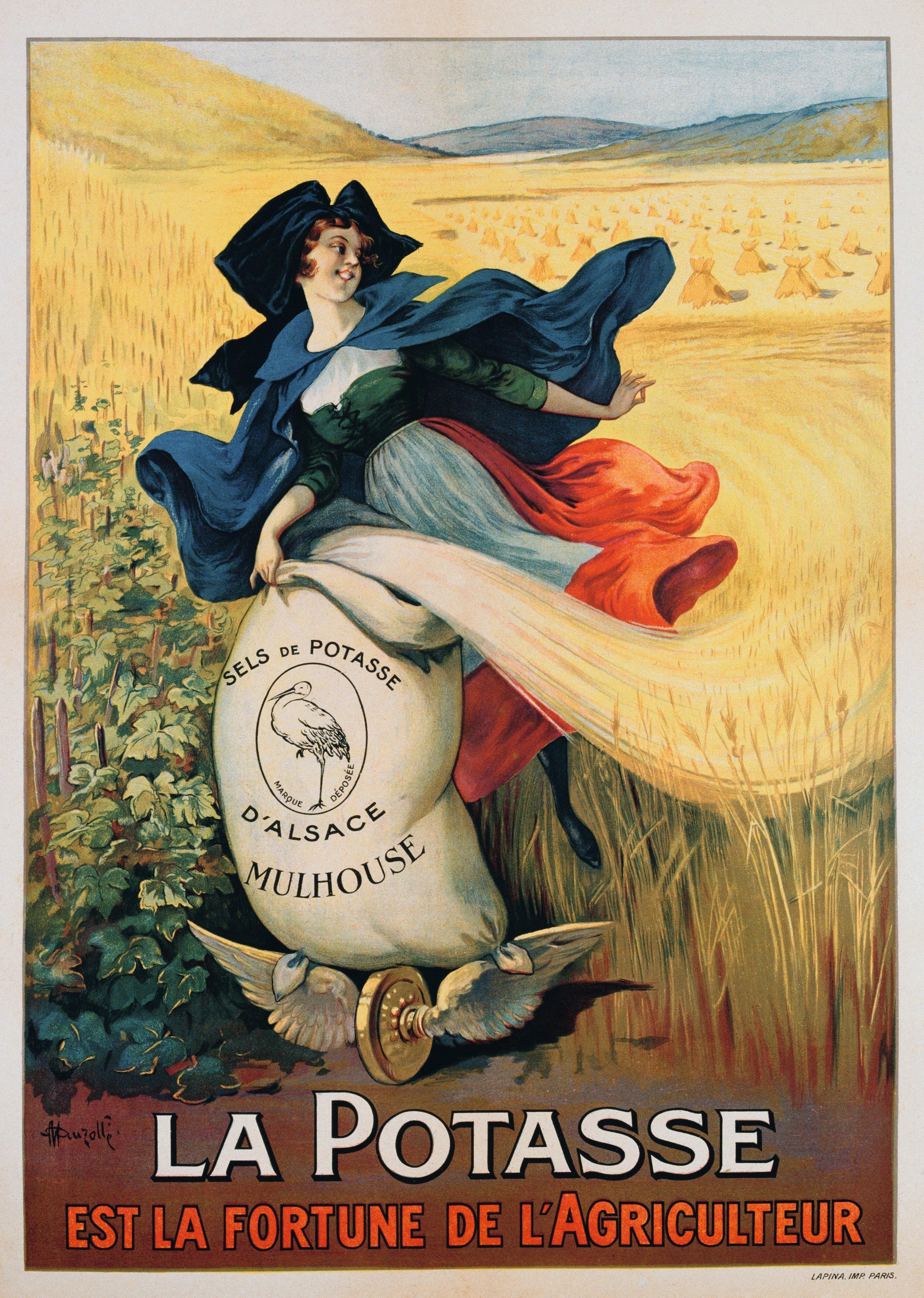 Affiche pour un engrais potassique d'Alsace (1920).