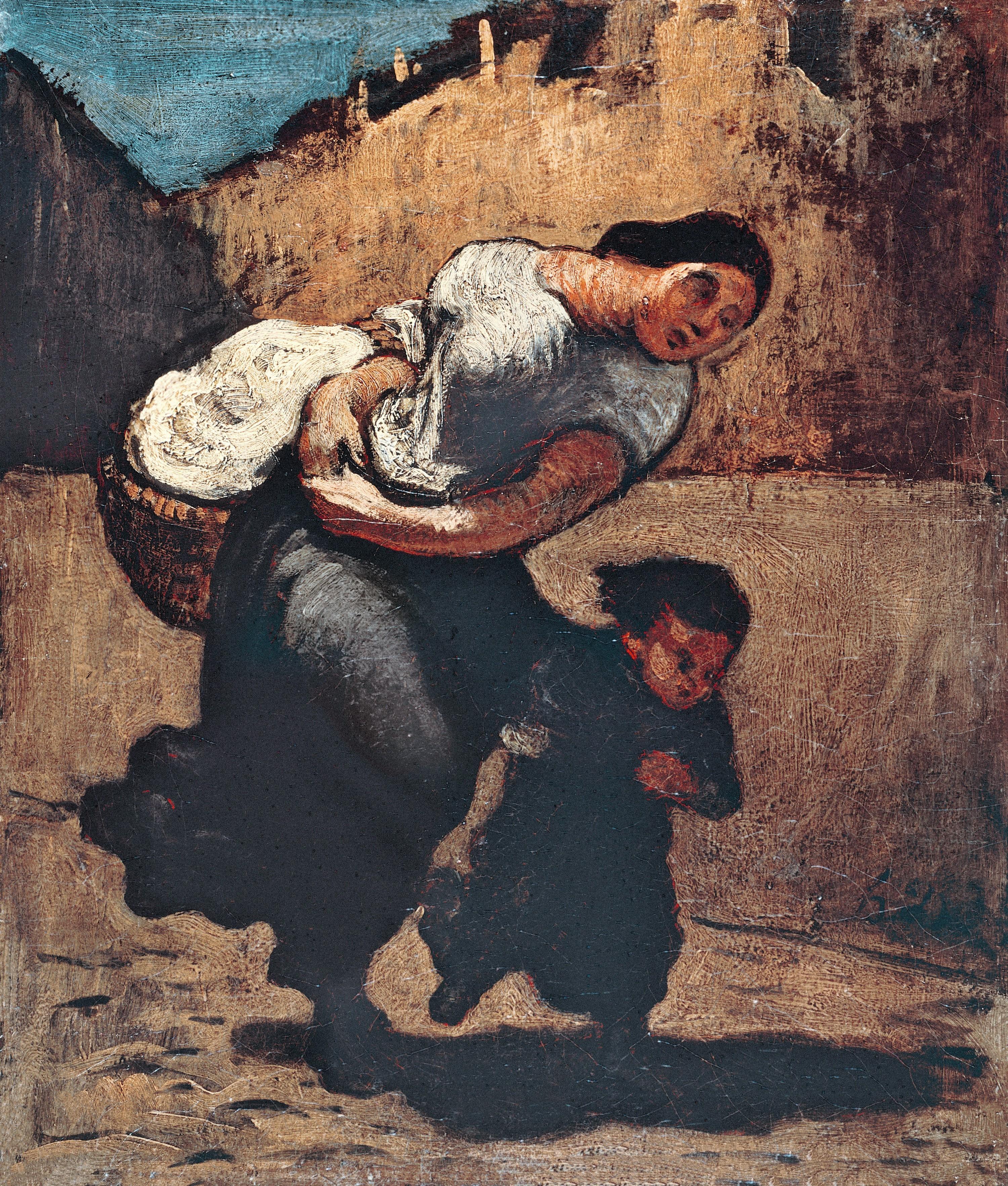 Honoré Daumier, La Blanchisseuse, 1850 - 1853, huile sur toile, 130 × 98 cm, musée de l'Ermitage, Saint-Pétersbourg.