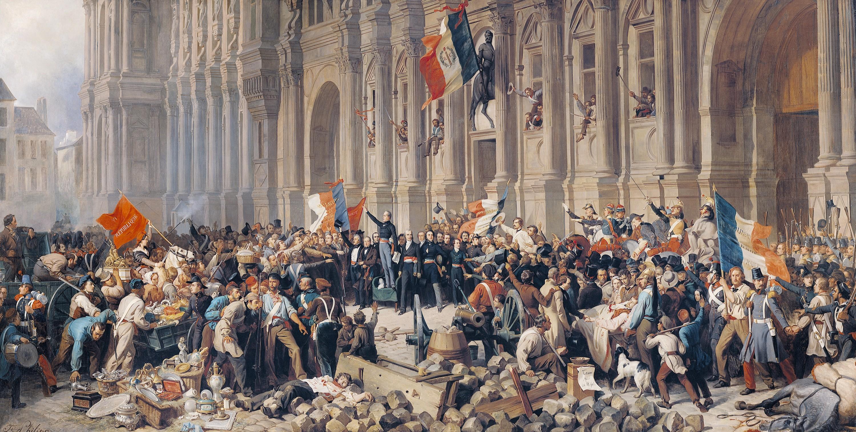 Félix Philippoteaux, Lamartine repoussant le drapeau rouge à l'Hôtel de ville de Paris le 25 février 1848, 1848, 63 × 27 cm, musée Carnavalet, Paris.