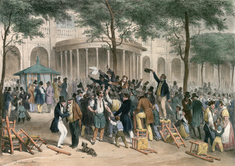 Hippolyte Bellangé, Lecture des ordonnances dans Le Moniteur, au jardin du Palais-Royal, le 26 juillet 1830