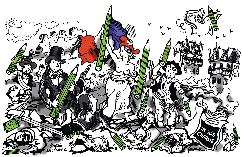 Plantu, « D'après Delacroix », dessin pour la une du Monde, 8 janvier 2015.
