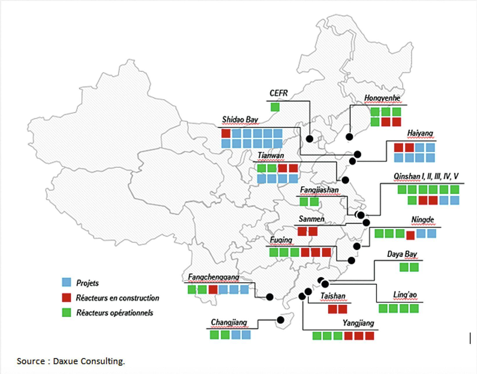 carte des réacteurs en Chine