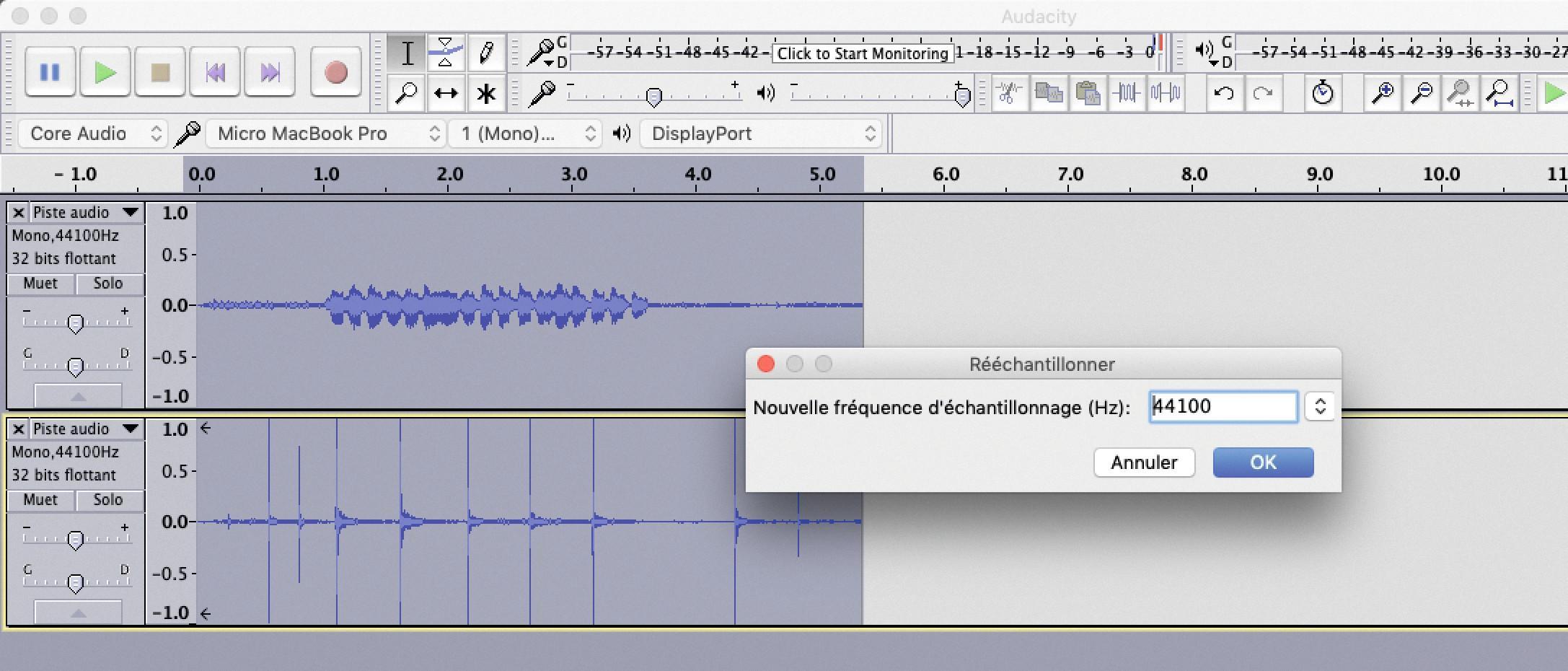 numériser un son avec le logiciel Audacity