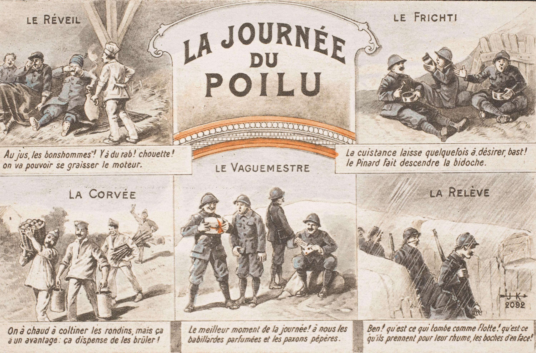 « La journée du poilu », après 1914, carte postale imprimée d'après un dessin anonyme