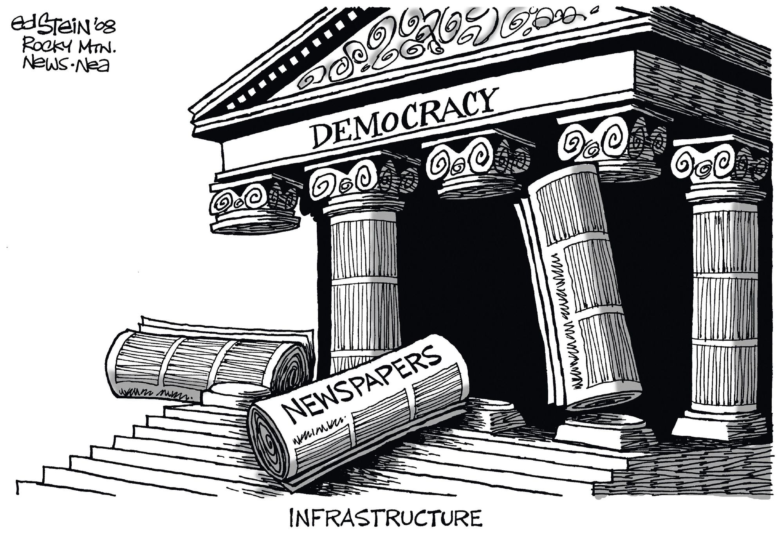 Ed Stein, « Infrastructure », inspiré du bâtiment de la Cour Suprême, publié dans le Rocky Mountain News, 2008.