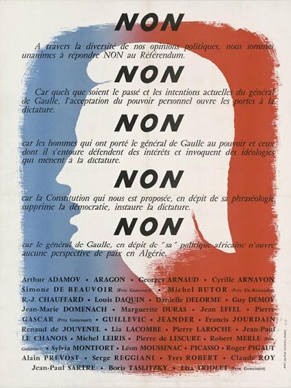 Affiche de campagne contre la Ve République, 1958, signée notamment par Simone de Beauvoir et Jean-Paul Sartre.