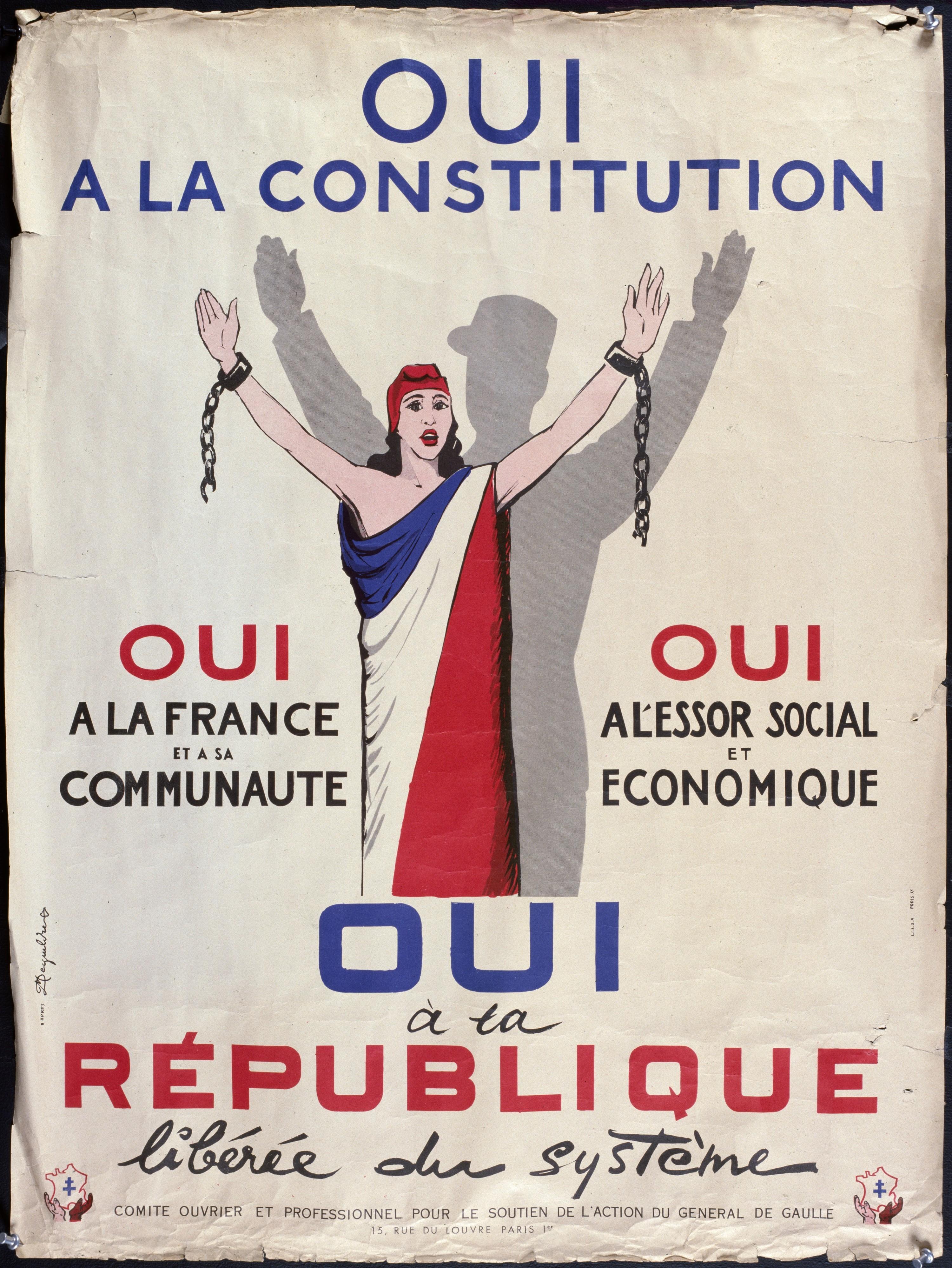 Affiche de campagne pour la Ve République, 1958.