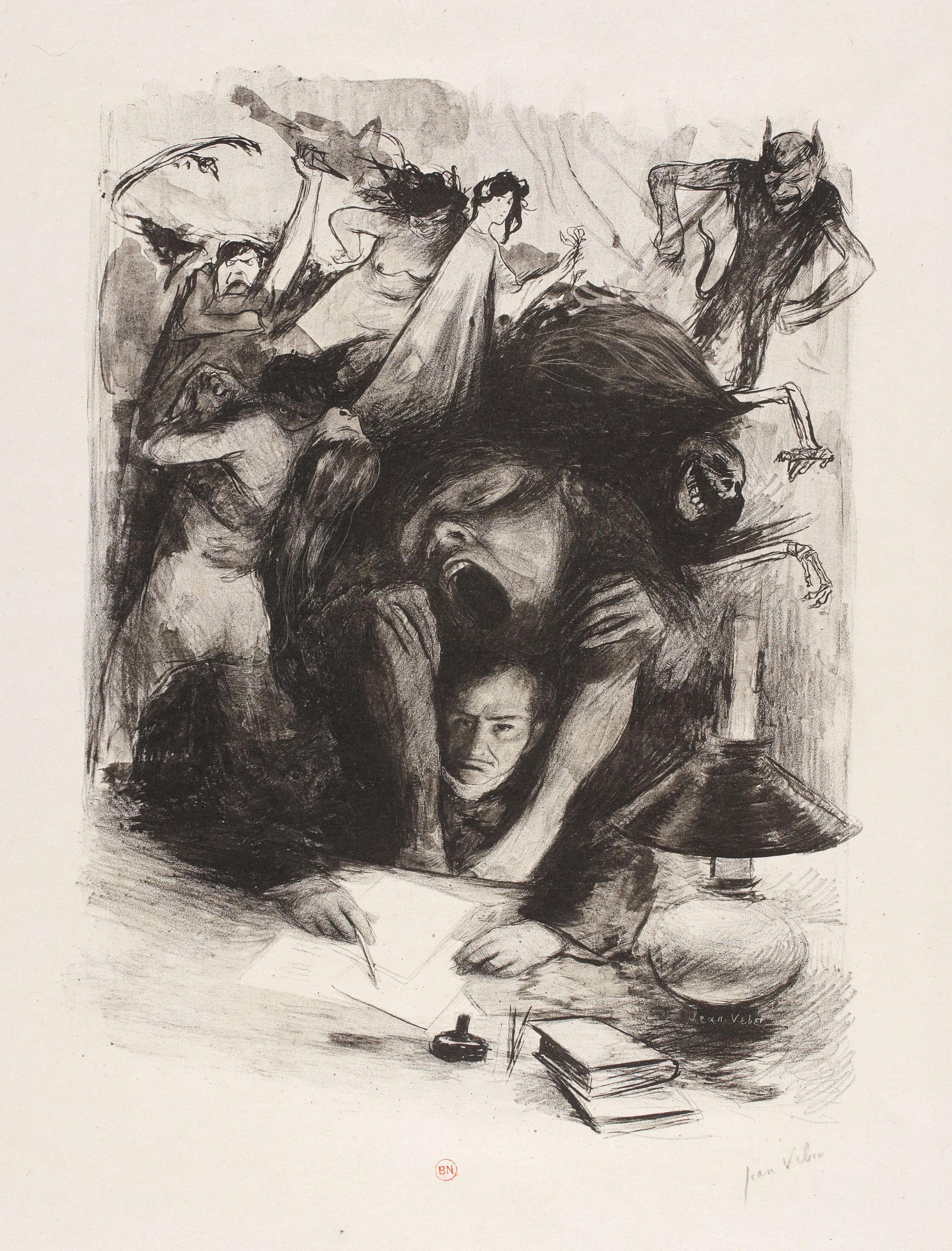 Jean Veber, « L'Ennui », projet de préface pour Les Fleurs du Mal de Baudelaire, 1896, lithographie, 29 × 24 cm, BnF, Paris.