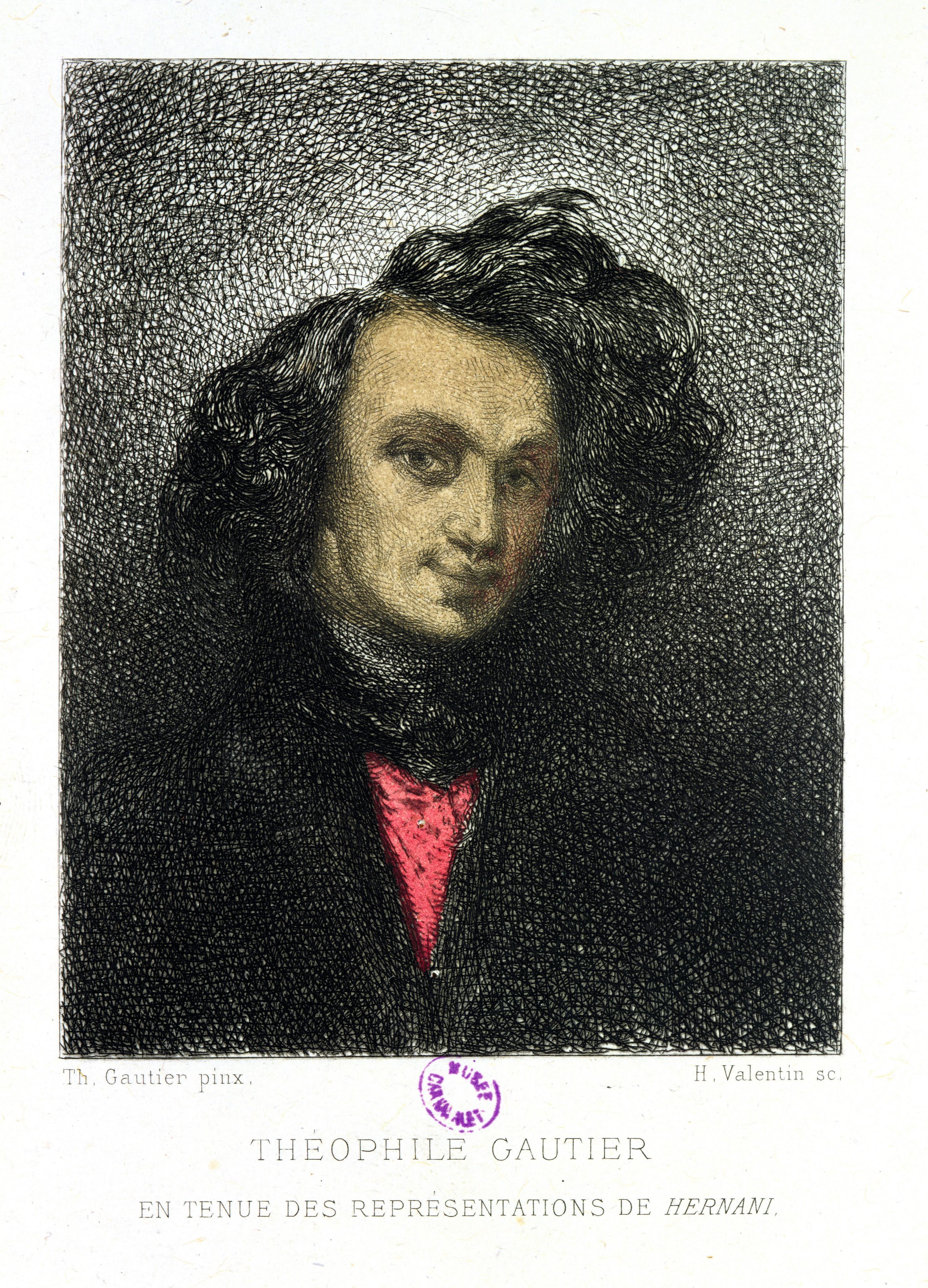 Henry-Augustin Valentin, Théophile Gautier en tenue des représentations de Hernani, vers 1876, gravure, 22,7 × 14,6 cm, musée Carnavalet, Paris.