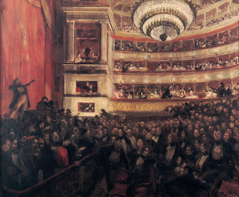 Albert Besnard, La première d'Hernani. Avant la bataille, 1903, huile sur toile, 102 × 122 cm, maison de Victor Hugo, Paris.