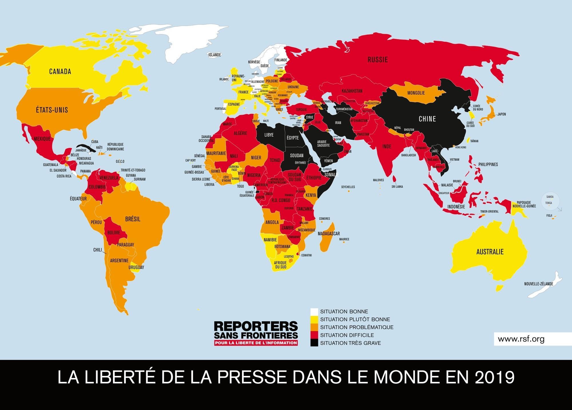 La liberté de la presse dans le monde en 2019