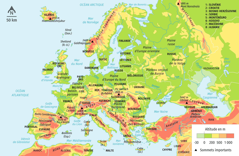 Le relief de l'Europe