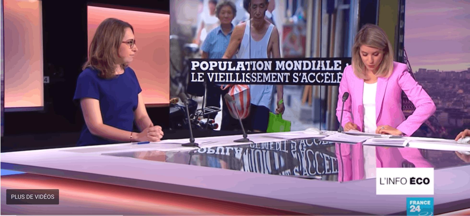 « Population mondiale : le vieillissement s'accélère », émission L'info éco sur France 24, présentée par Line Rifai, chroniqueuse économie, diffusée le 18 septembre 2018.