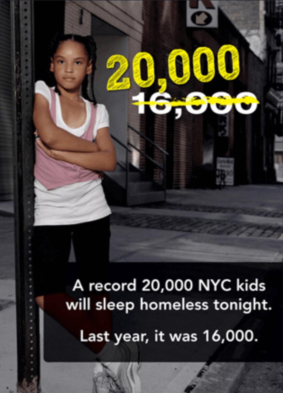 « Un chiffre record de 20 000 enfants à New York vont dormir sans abri cette nuit. L'année dernière ils étaient 16 000 ». Campagne dans le métro de New York, 2012.