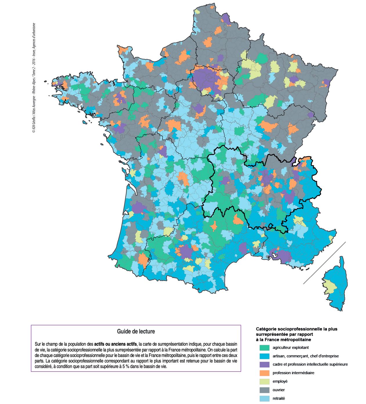Catégorie socioprofessionnelle la plus surreprésentée par rapport à la France métropolitaine, Insee, 2016.