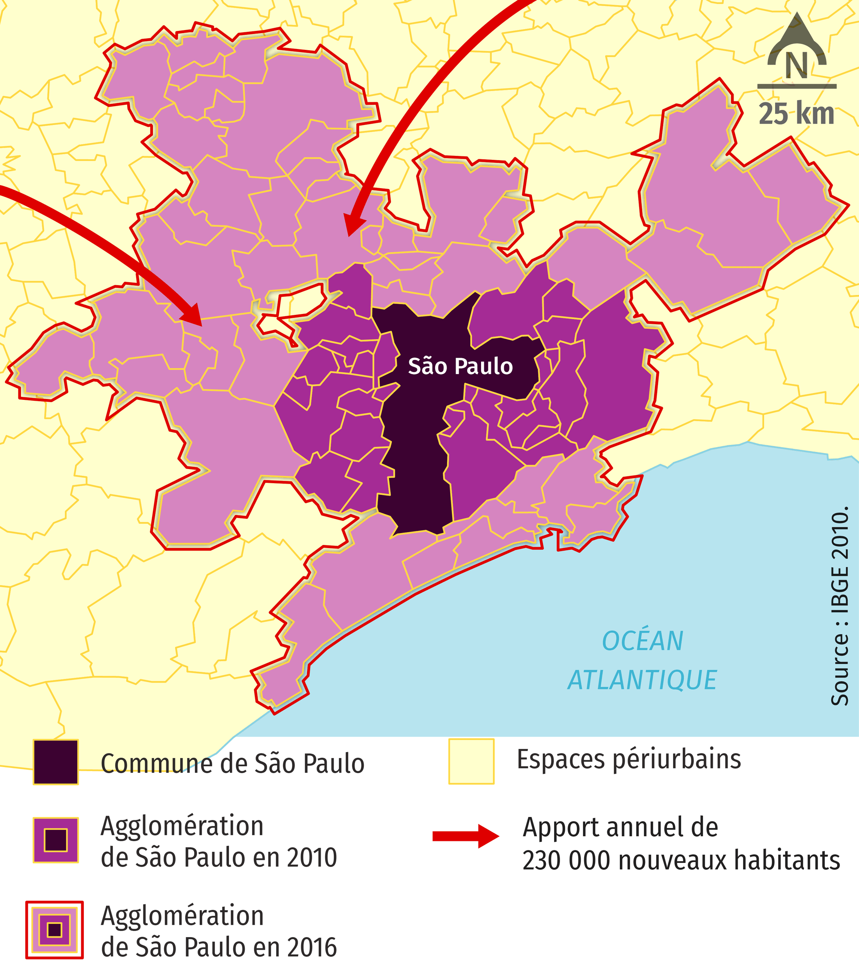 Évolution de la superficie de São Paulo depuis 2010
